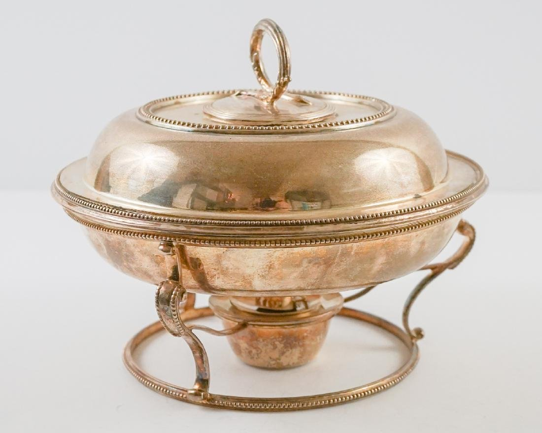 English Silver Plate Chafing Dish on Stand - 2
