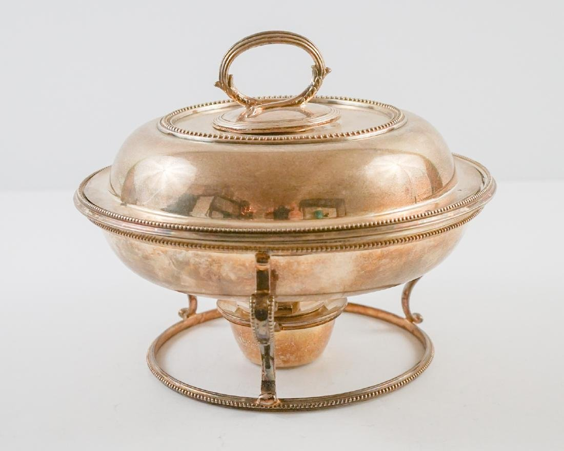 English Silver Plate Chafing Dish on Stand - 3