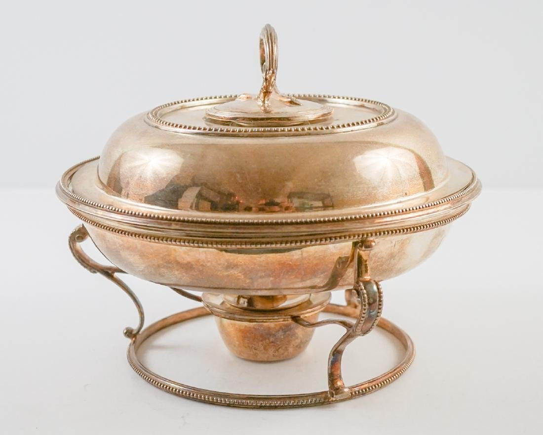 English Silver Plate Chafing Dish on Stand - 4