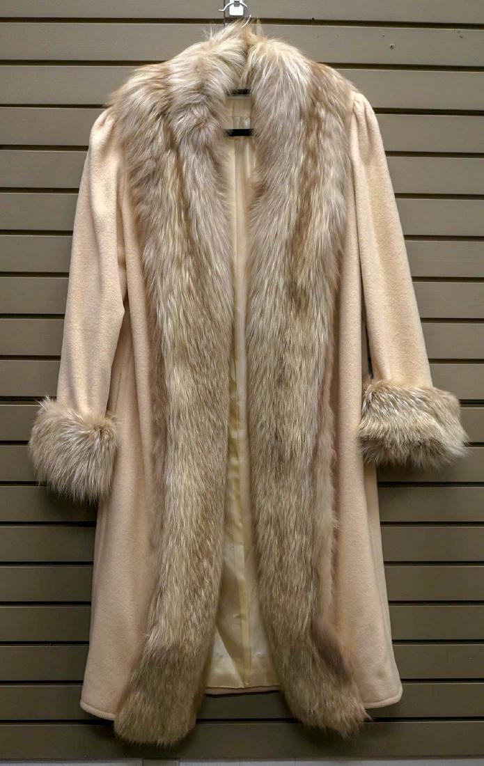Amen Wardy Wool Fur-Trim Full Length Coat