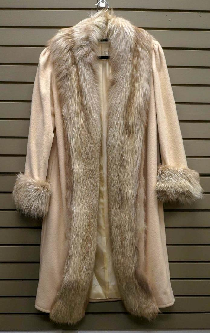 Amen Wardy Wool Fur-Trim Full Length Coat