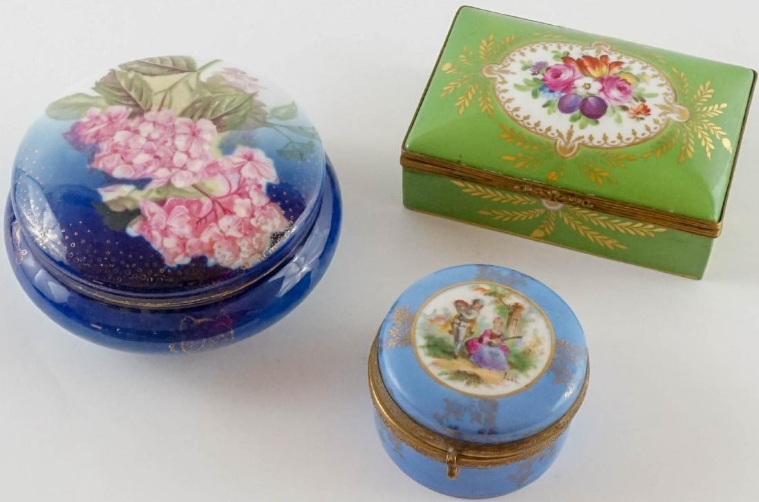Three Antique Porcelain Trinket & Dresser Boxes