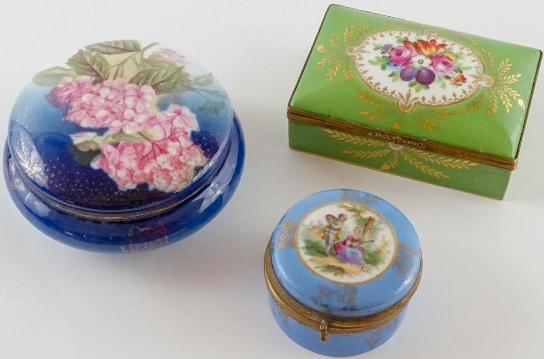 Three Antique Porcelain Trinket & Dresser Boxes