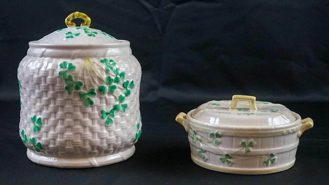 Two Belleek Covered Shamrock Pieces