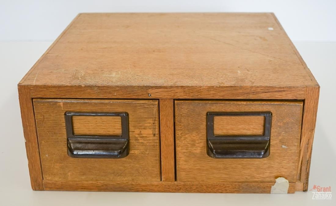 An Old Two Drawer Card File