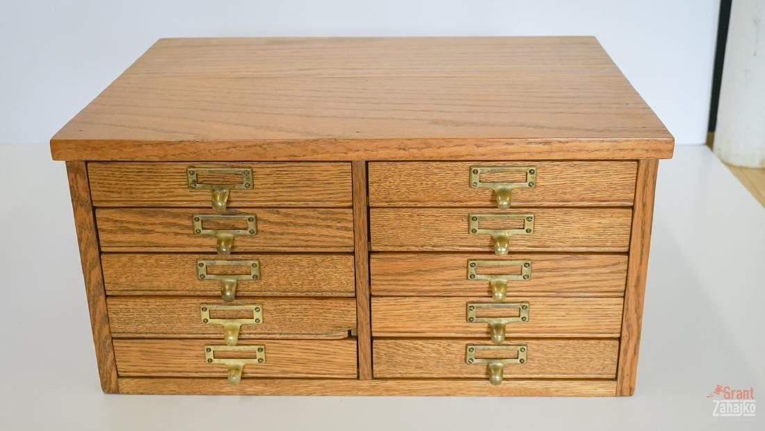 Ten Drawer Oak Printers Cabinet