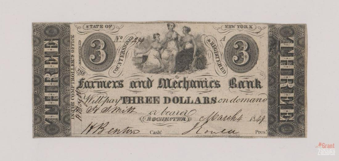 1849 Farmers and Merchants Bank $3 Bill