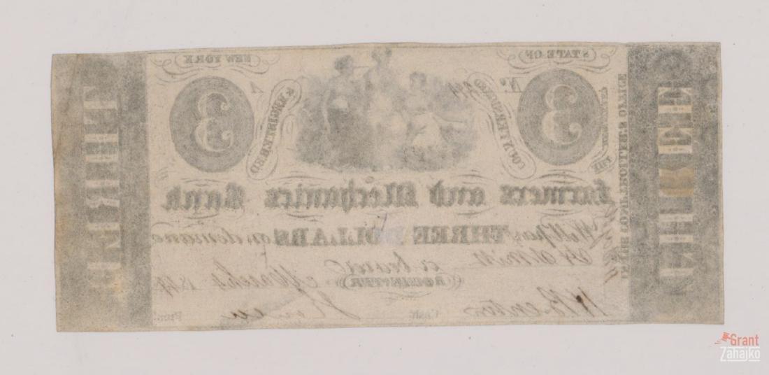 1849 Farmers and Merchants Bank $3 Bill - 2