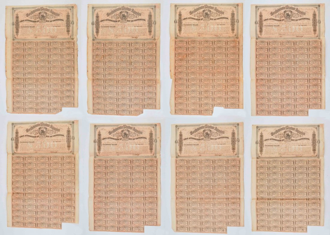 Group of Eight Confederate States War Bonds