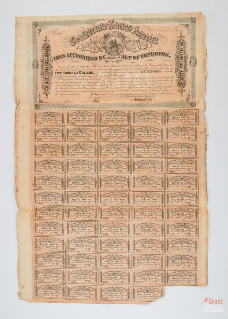 Group of Eight Confederate States War Bonds - 2