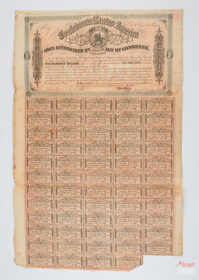 Group of Eight Confederate States War Bonds - 3