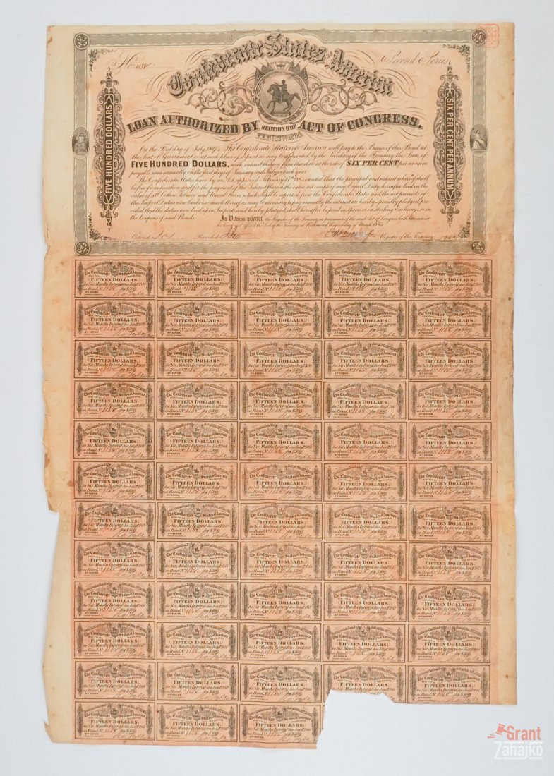 Group of Eight Confederate States War Bonds - 4
