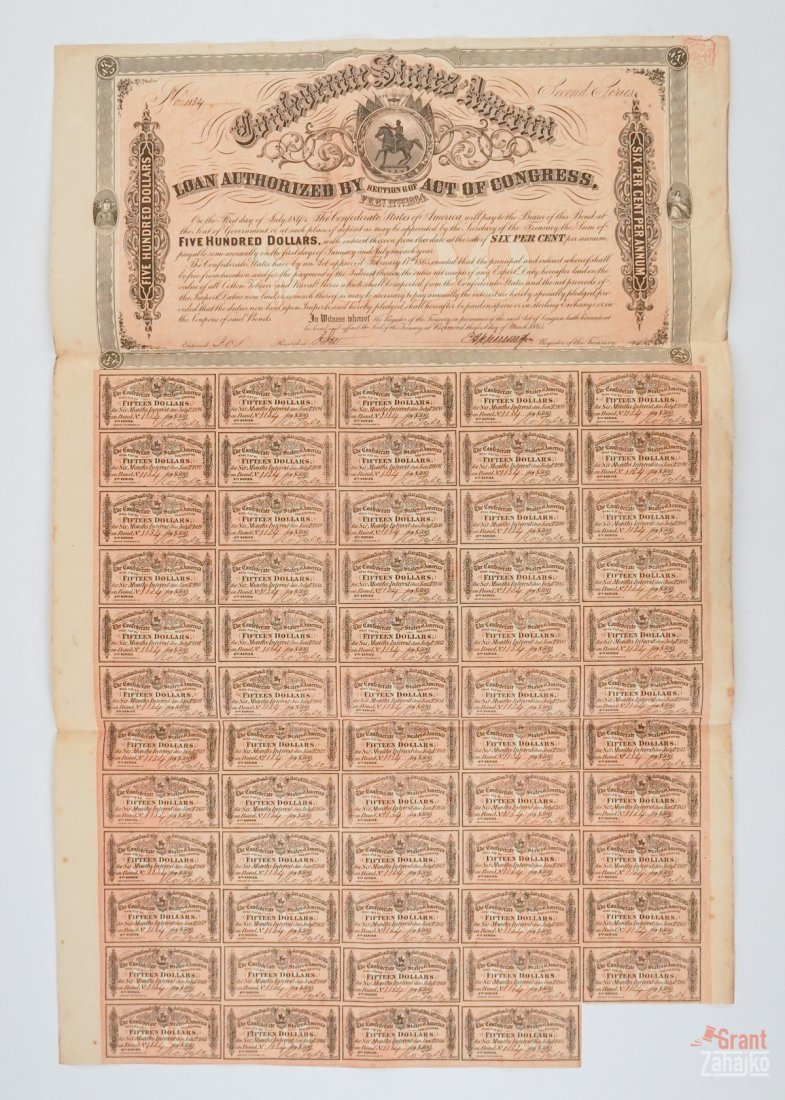 Group of Eight Confederate States War Bonds - 5