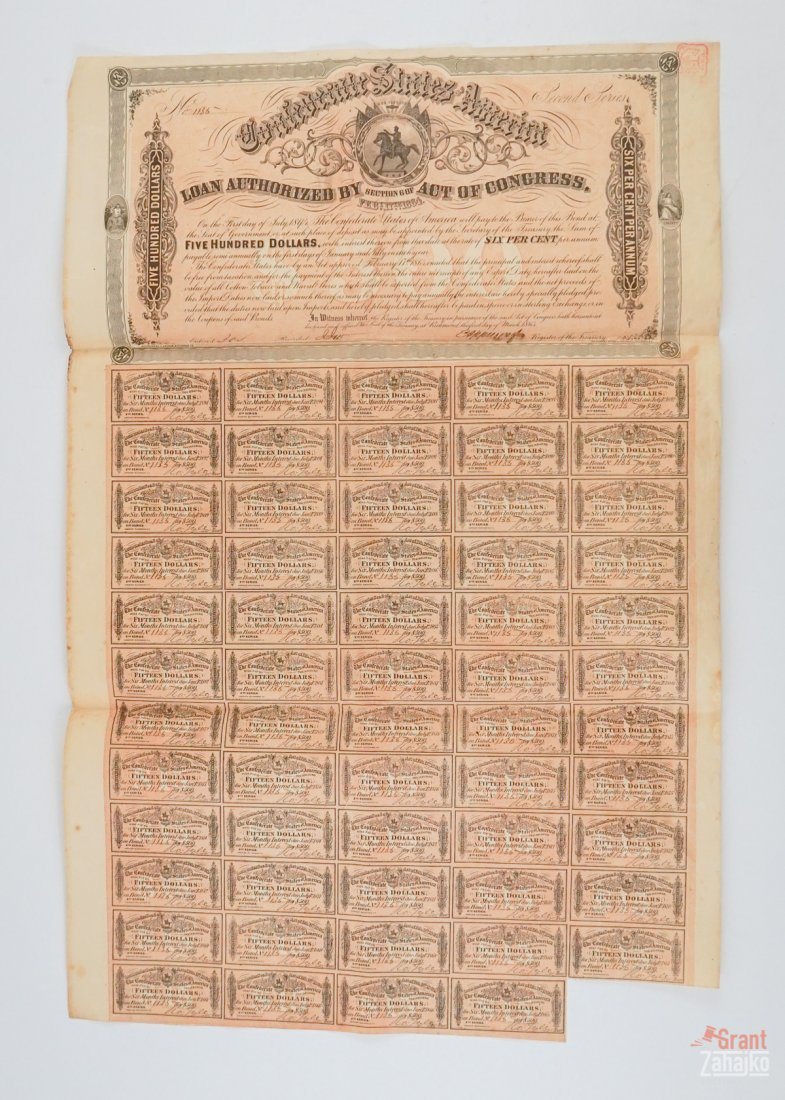 Group of Eight Confederate States War Bonds - 6