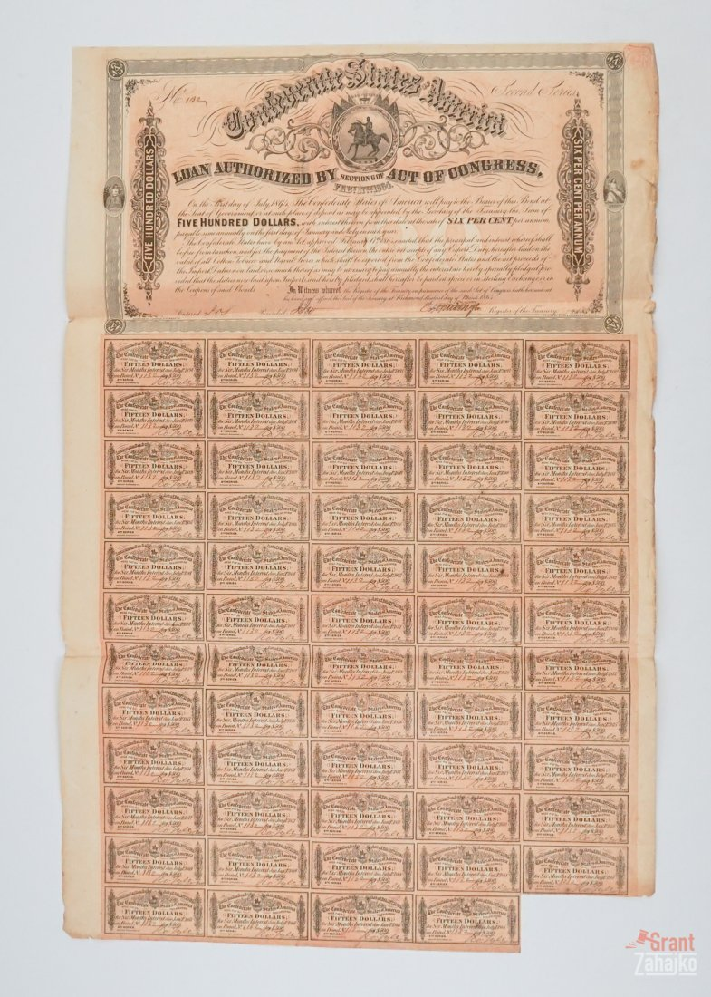 Group of Eight Confederate States War Bonds - 7