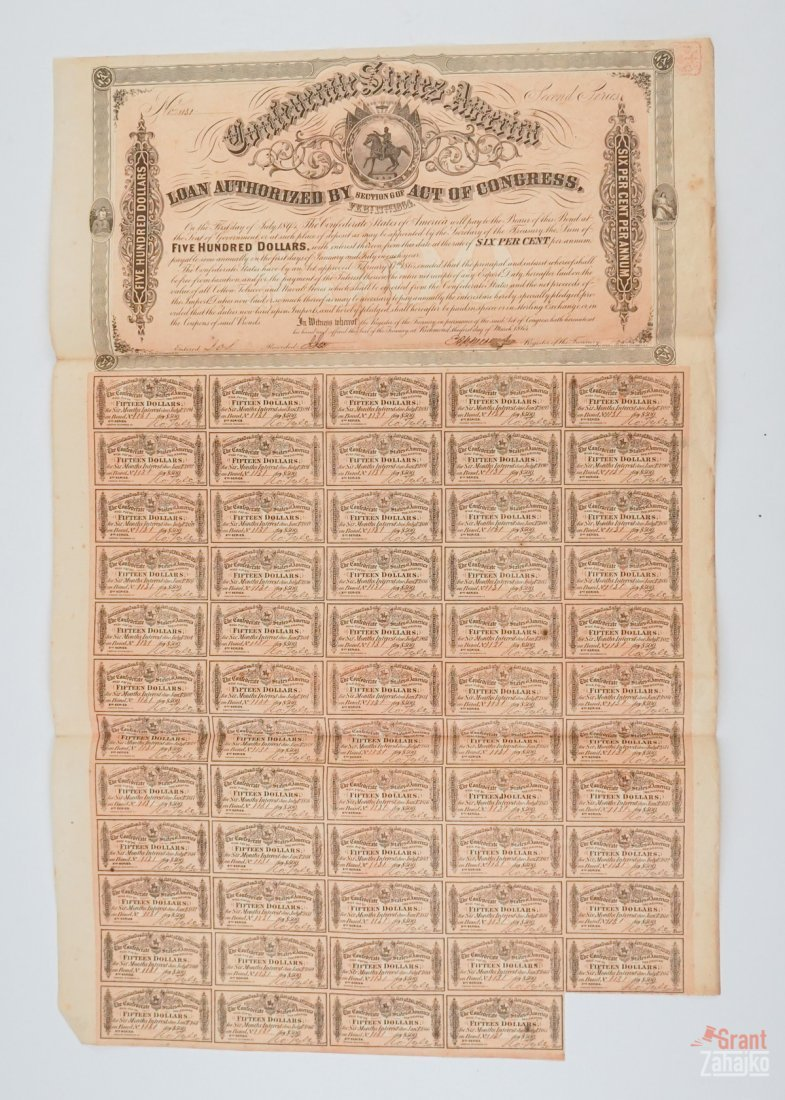 Group of Eight Confederate States War Bonds - 8