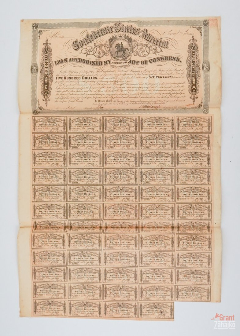 Group of Eight Confederate States War Bonds - 9