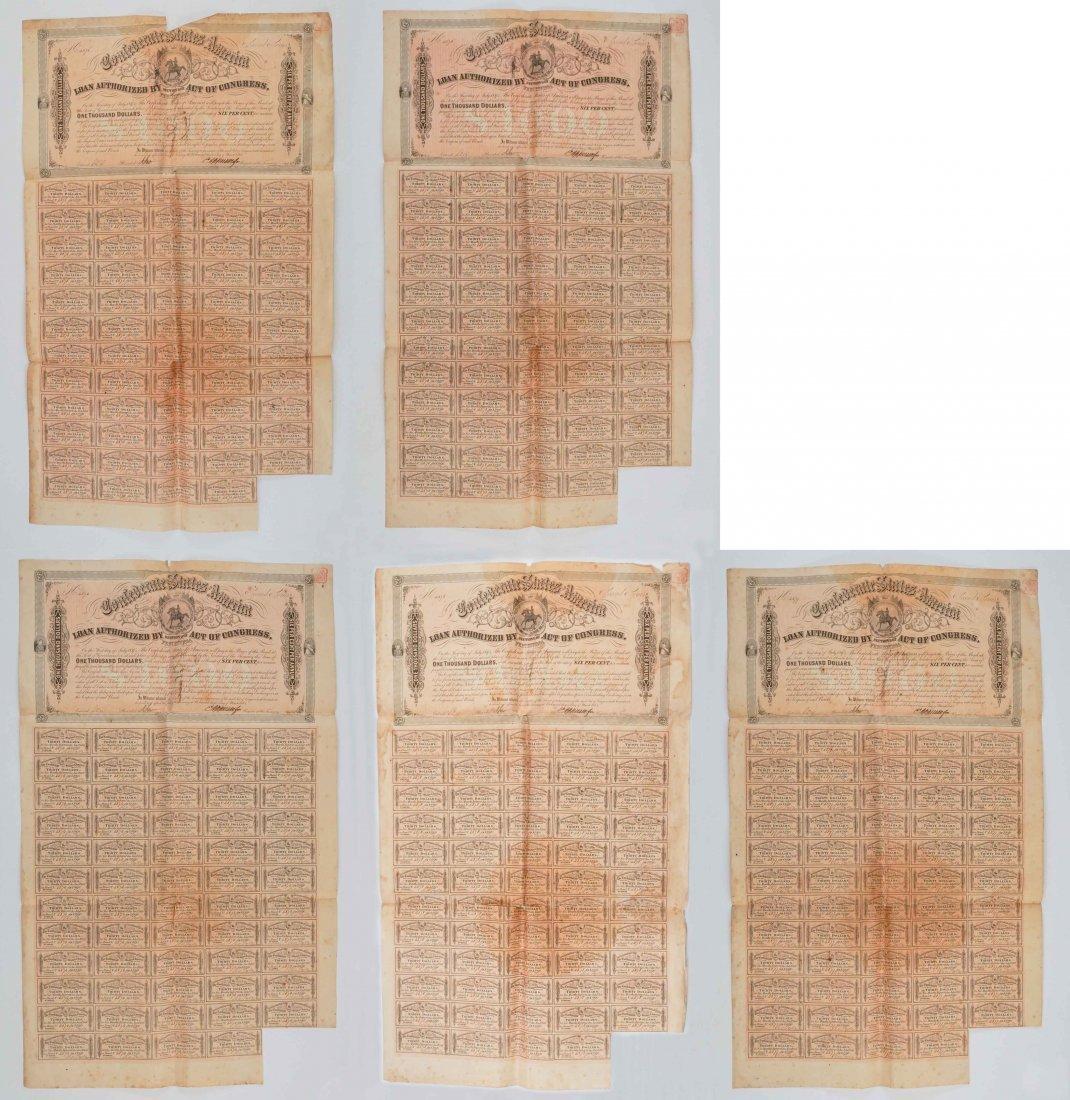 Group of Five Confederate States War Bonds