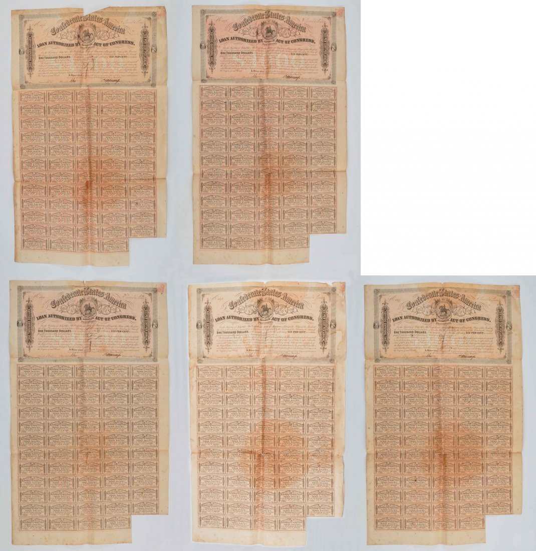 Group of Five Confederate States War Bonds
