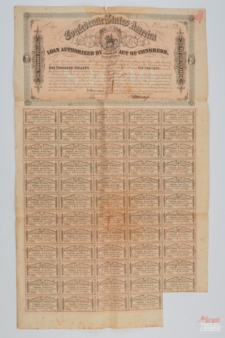 Group of Five Confederate States War Bonds - 2