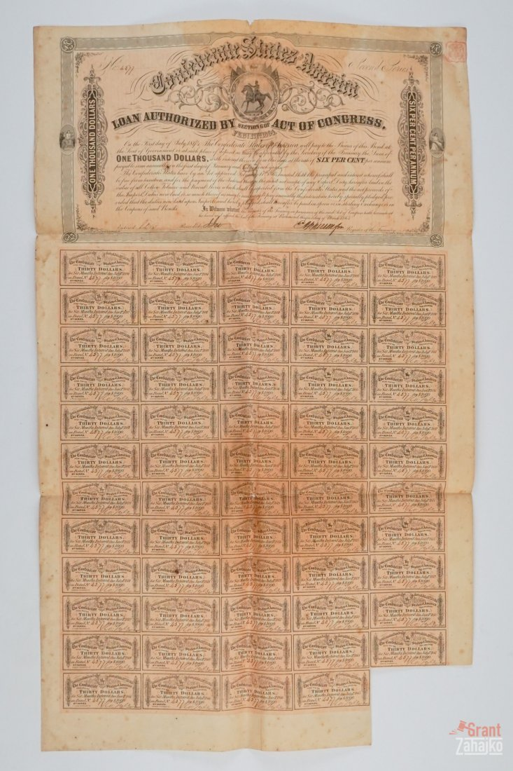 Group of Five Confederate States War Bonds - 4