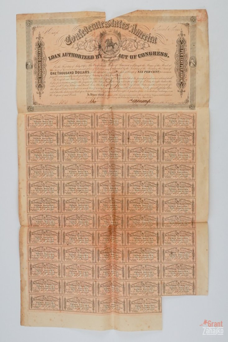 Group of Five Confederate States War Bonds - 5