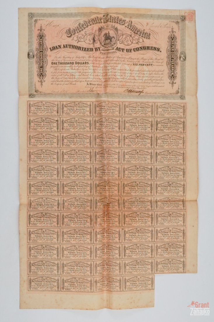 Group of Five Confederate States War Bonds - 6