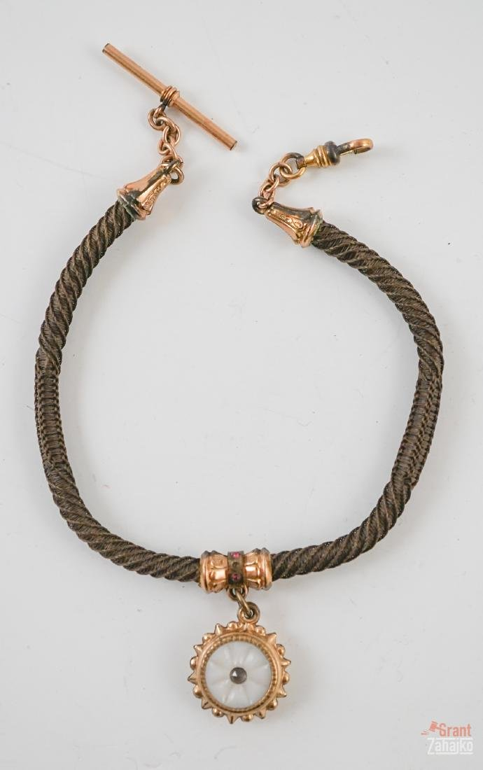 Victorian Hair Watch Chain with Fob