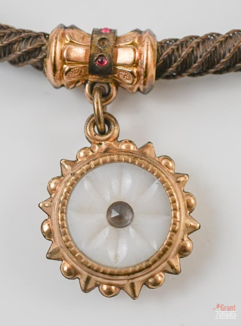 Victorian Hair Watch Chain with Fob - 2