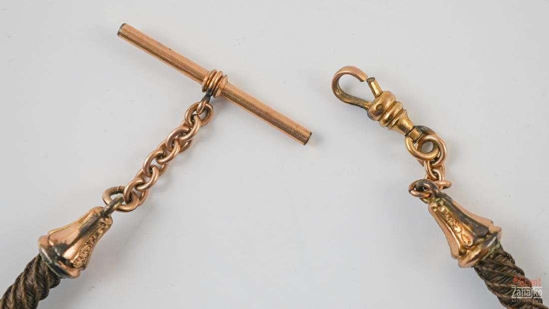 Victorian Hair Watch Chain with Fob - 3