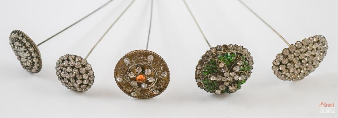 Five Antique Hat Pins with Rhinestones