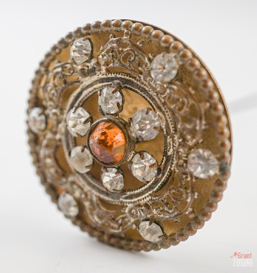 Five Antique Hat Pins with Rhinestones - 4