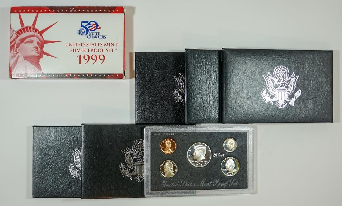 Seven U.S. Mint Silver Proof Sets 1992-1999