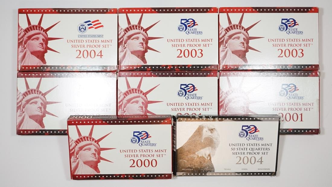 Eight U.S. Mint Silver Proof Sets 2000-2004