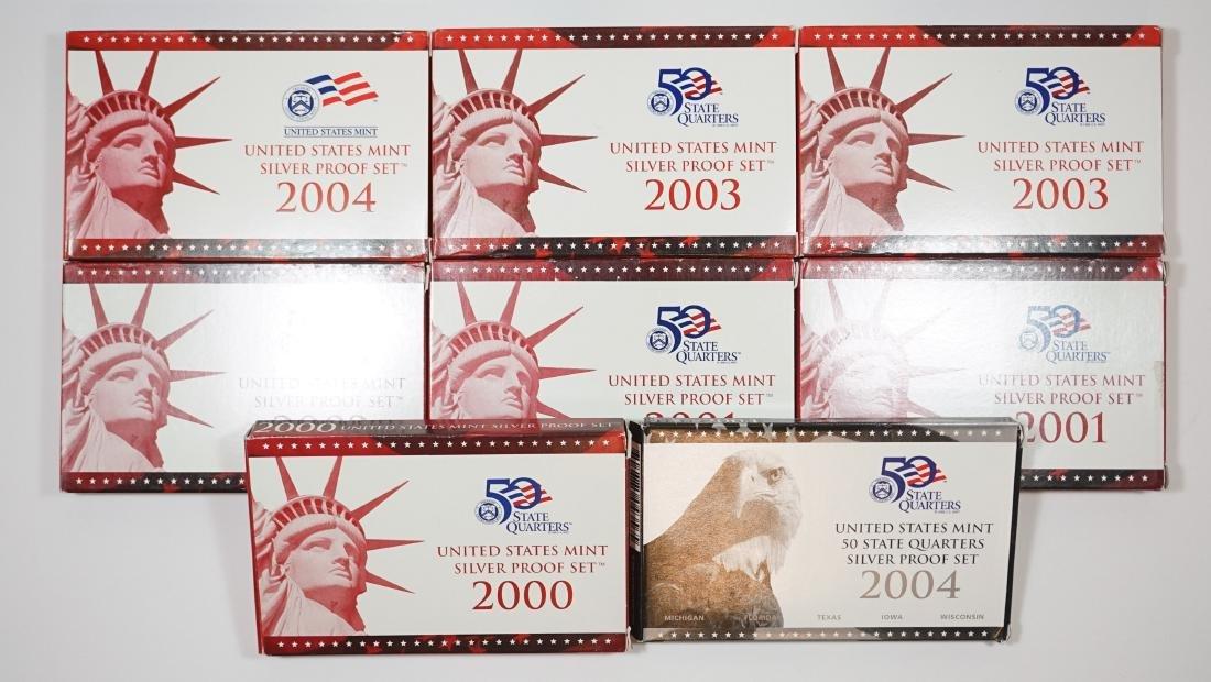 Eight U.S. Mint Silver Proof Sets 2000-2004