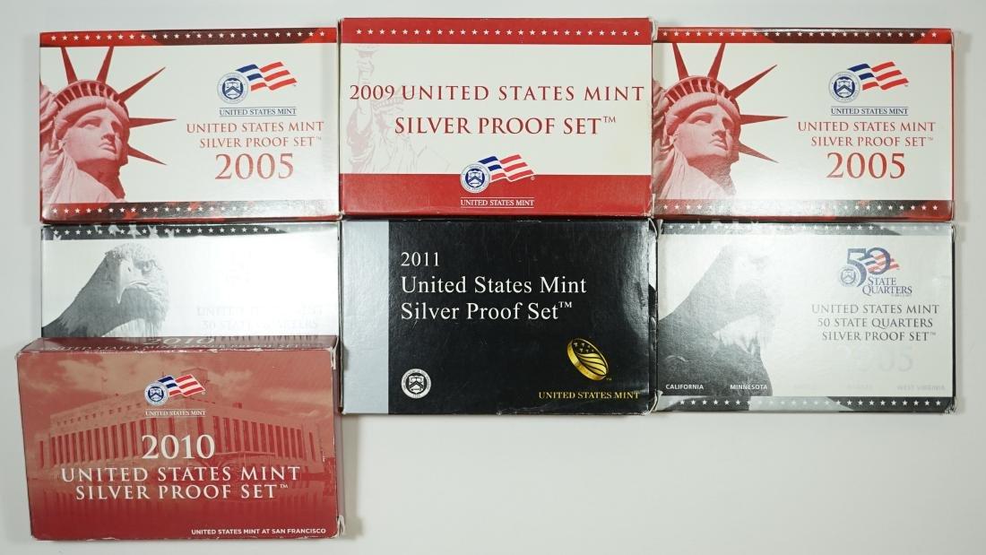 Seven U.S. Mint Silver Proof Sets 2005-2011