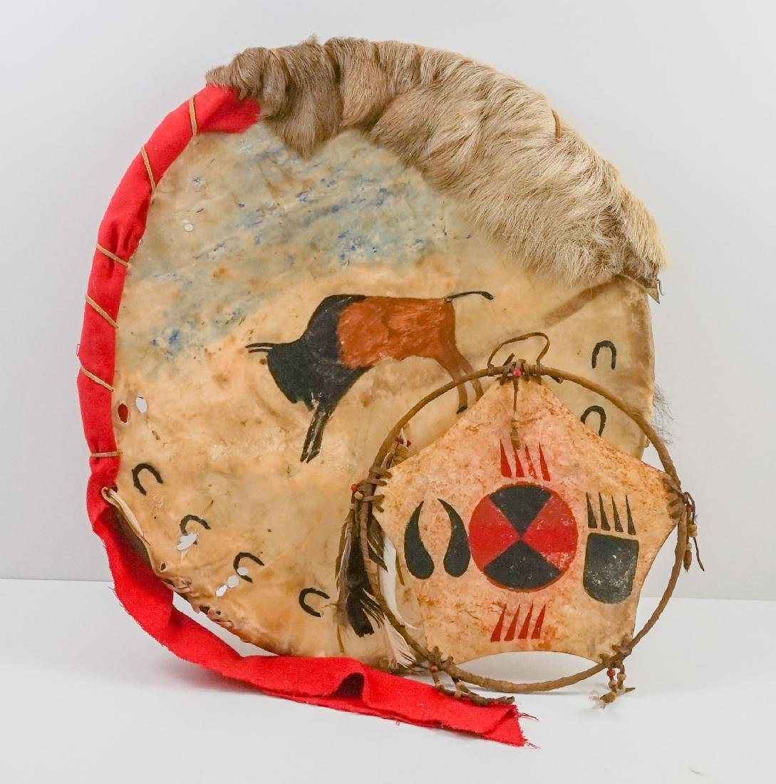 Plains Indian Hide Shield and Dream Catcher