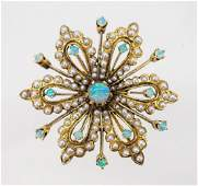 Ladys 14K Gold Opal Seed Pearl Pin or Pendant