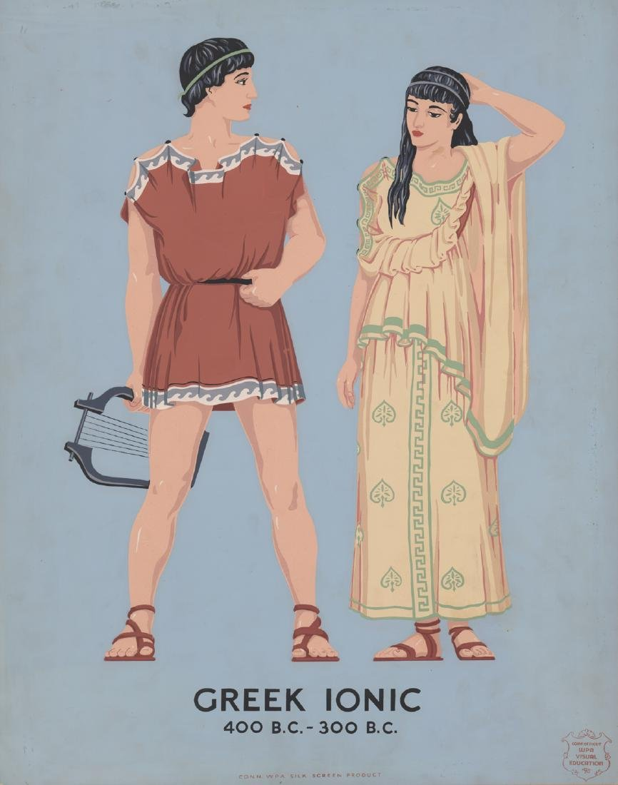 WPA Silk Screen Print - Greek Ionic