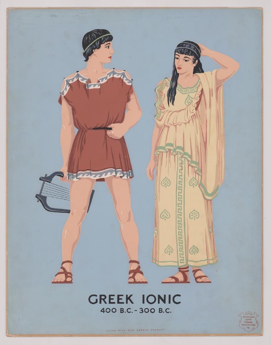 WPA Silk Screen Print - Greek Ionic - 2