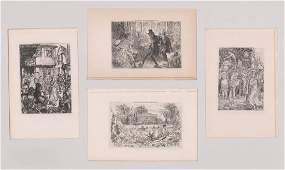 Four Original Etchings by John Sloan Book Plates