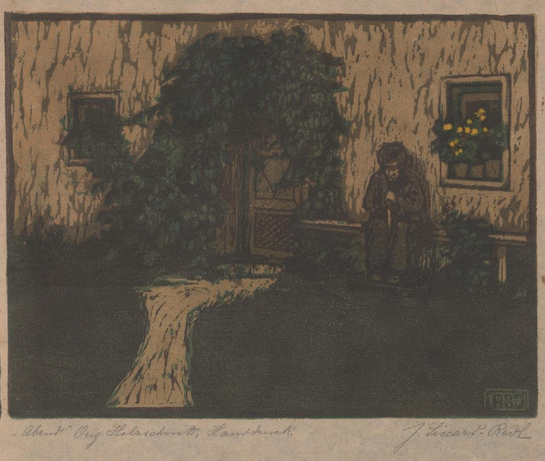 A German Signed Woodcut