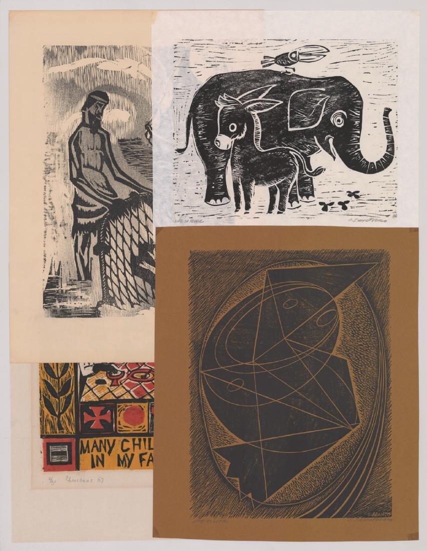 Four Original Woodcut Prints, Various Artists