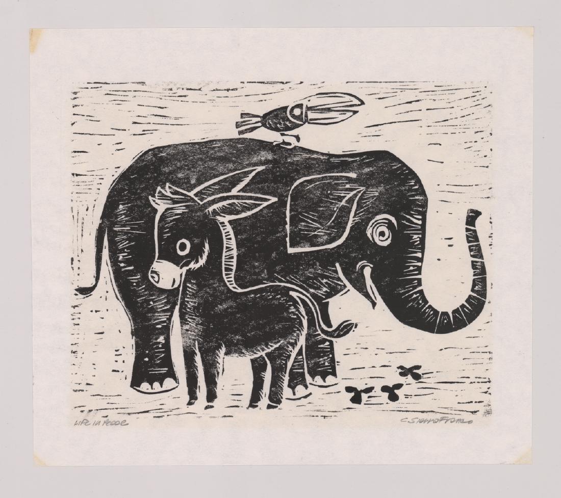Four Original Woodcut Prints, Various Artists - 2