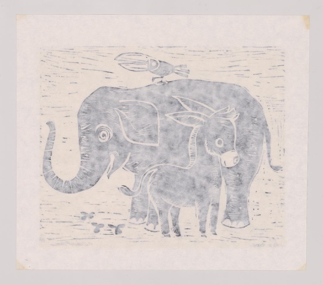 Four Original Woodcut Prints, Various Artists - 3