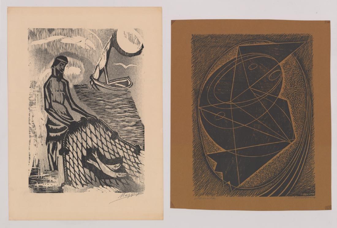 Four Original Woodcut Prints, Various Artists - 4