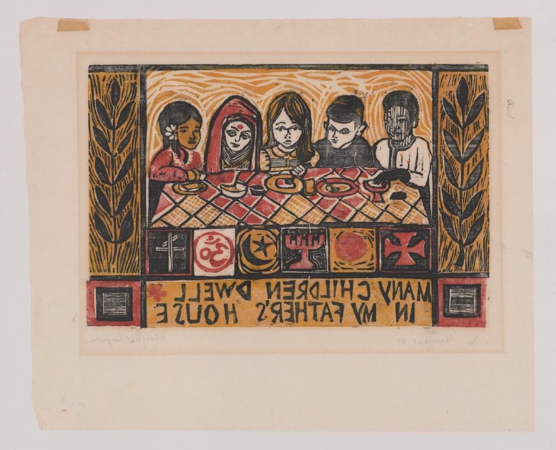 Four Original Woodcut Prints, Various Artists - 7