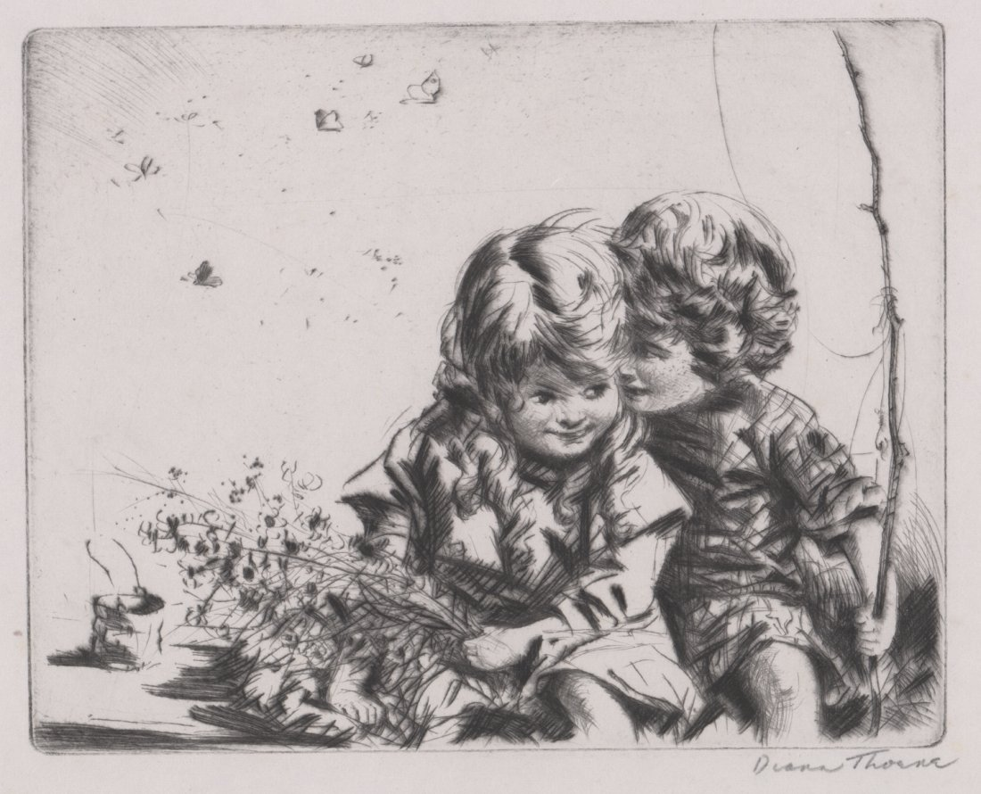 Diana Thorne Signed Etching