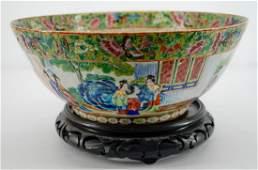 Large Chinese Export Rose Medallion Bowl