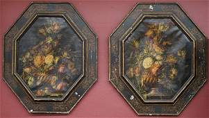 Pair of Large Antique Still Life Oil Paintings